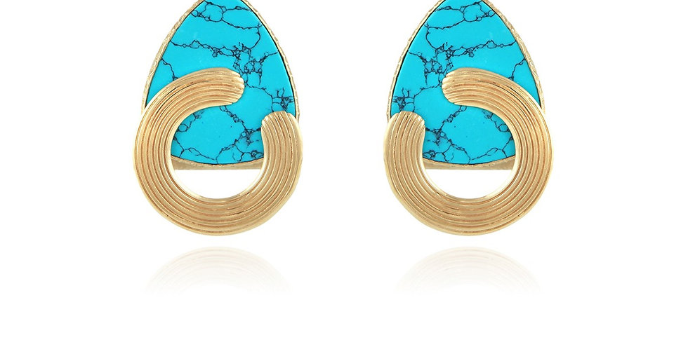 boucles d'oreilles Anemone or et turquoise