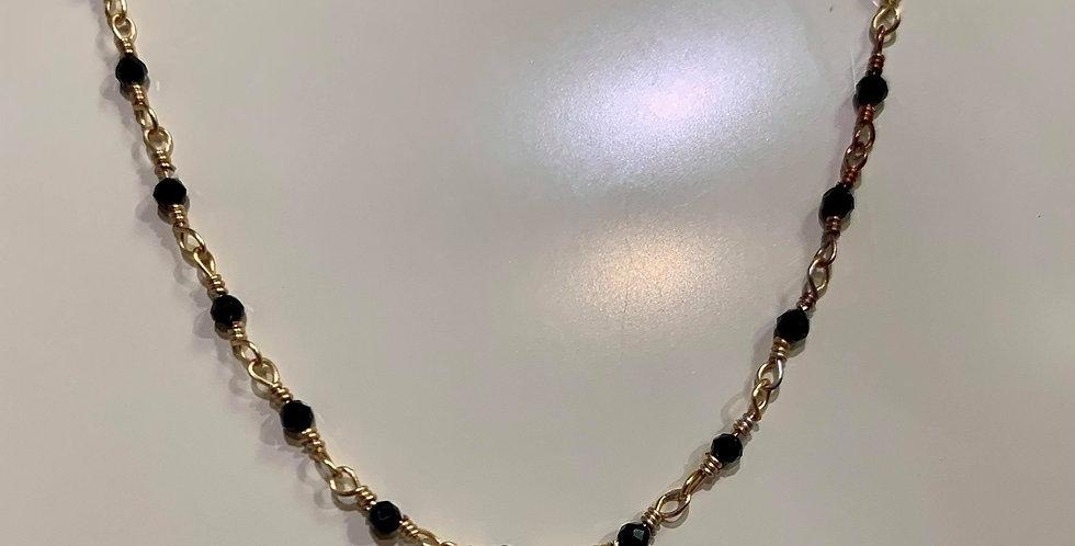 Collier Zag perles fines noiresAcier doré