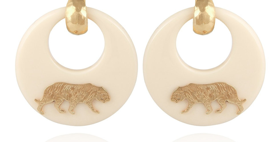 Boucles d'oreilles Tigre acétate or - Ivoire