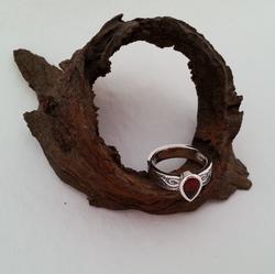 Silver garnet ring