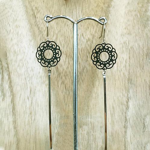 Boucles d'oreilles pendentif argenté