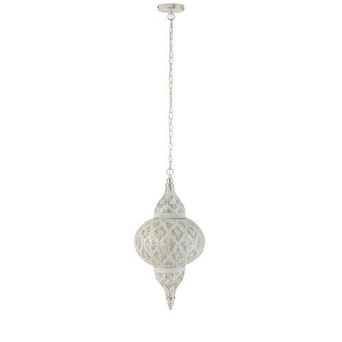 Lampe suspendue orientale trous métal blanc