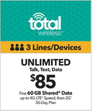 Total Wireless $85 3-Line Plan