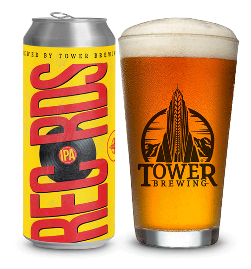 Records IPA can and glass - tower brewing