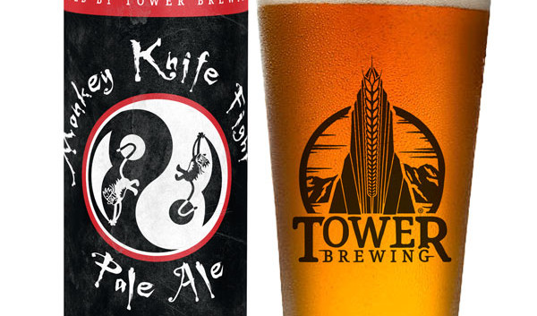 MKF can with tower brewing beer glass