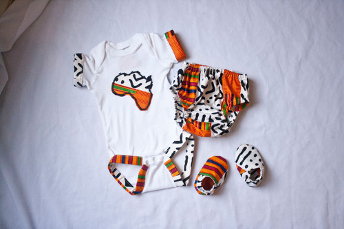 06ba3e58a399 Unisex African Kente Print Bloomer   Diaper Cover Set
