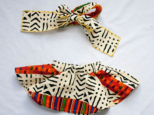 African Kente Print Bowtie Headband & Skirt Set