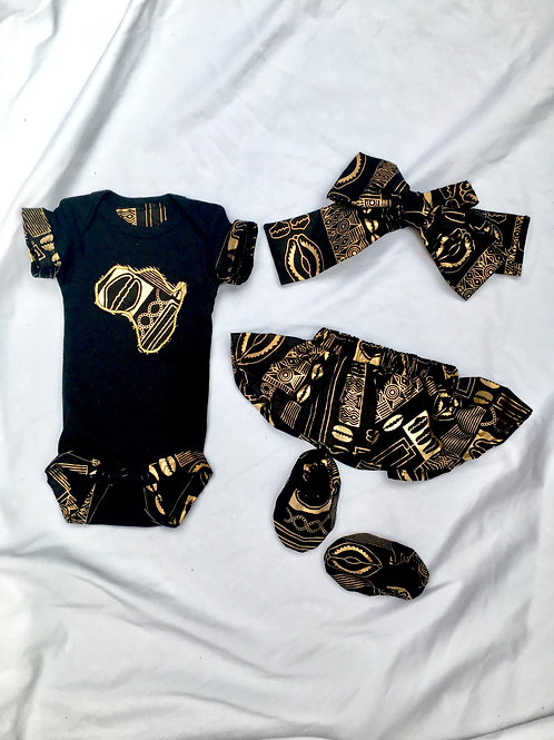 LIMITED Edition Metallic Gold and Black African Cowrie Inspired Print Baby Girl