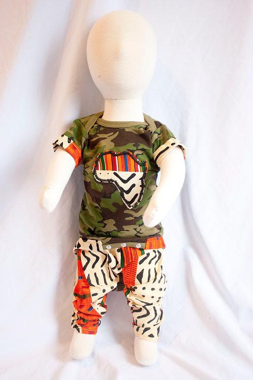 Nasir Army Kente Print Onesie Outfit