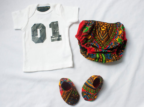 Newborn-3M - Unisex No. 1 T-Shirt with Red African Inspired Print Diaper Cover