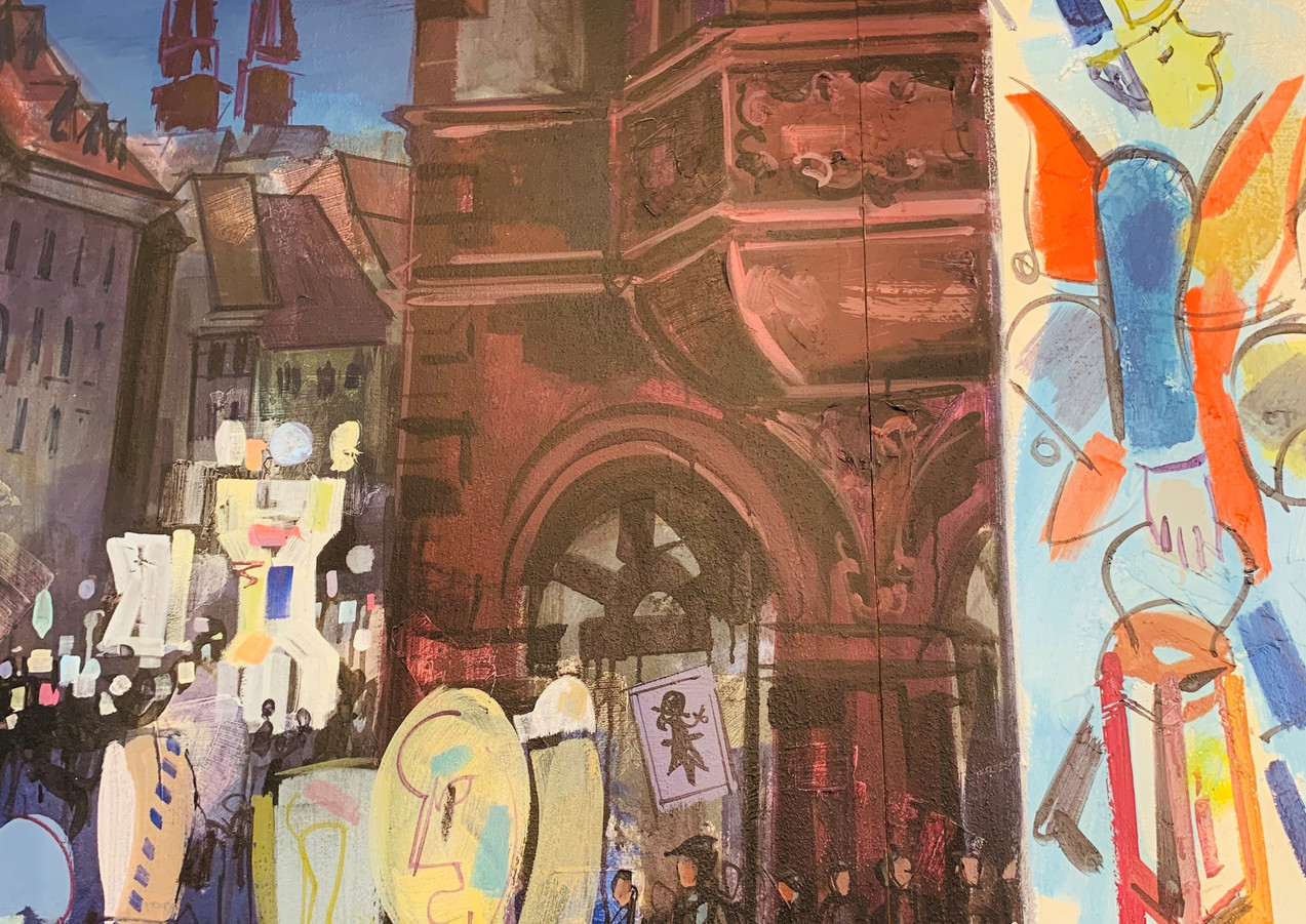 Detail aus dem Wandbild von Domo Löw Thema Zünfte