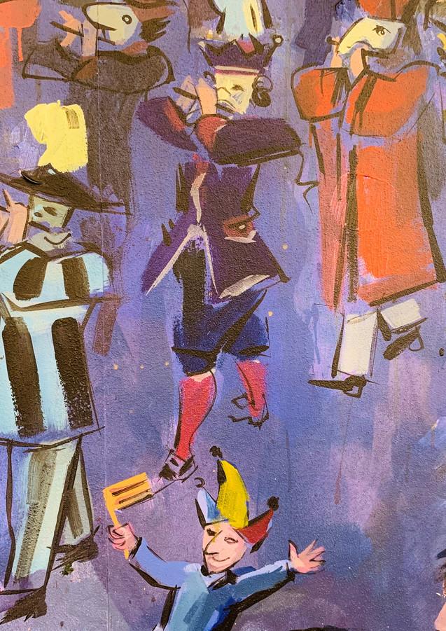 Detail aus dem Wandbild von Domo Löw Thema Fasnacht