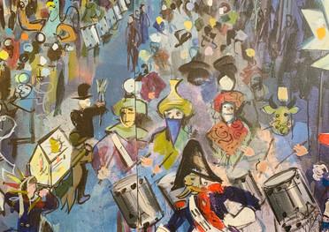 Detail des Wandbilds von Domo Löw Thema Fasnacht