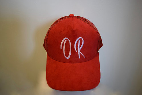 Red Suede Trucker Cap