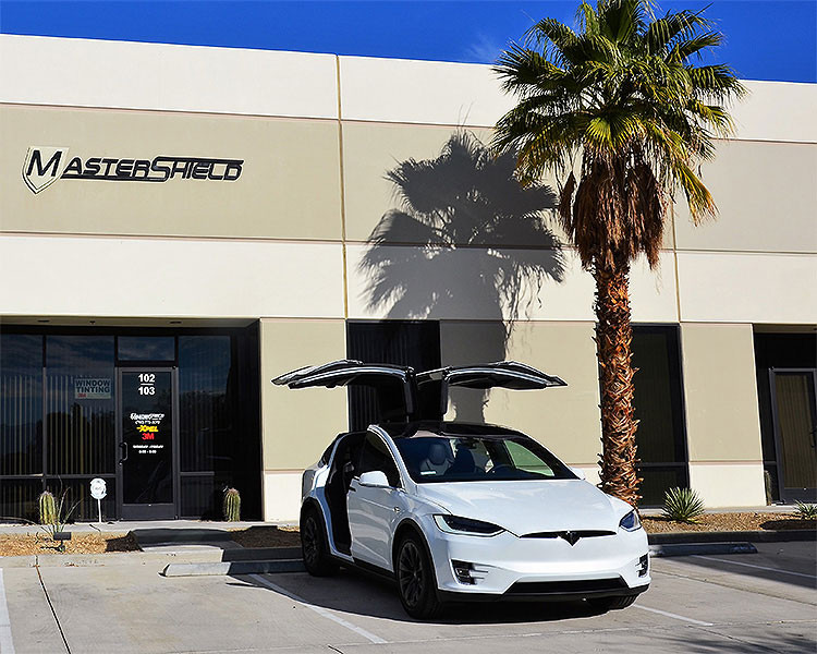 This white Tesla came to Mastershield for Xpel Ultimate Plus paint protection film.