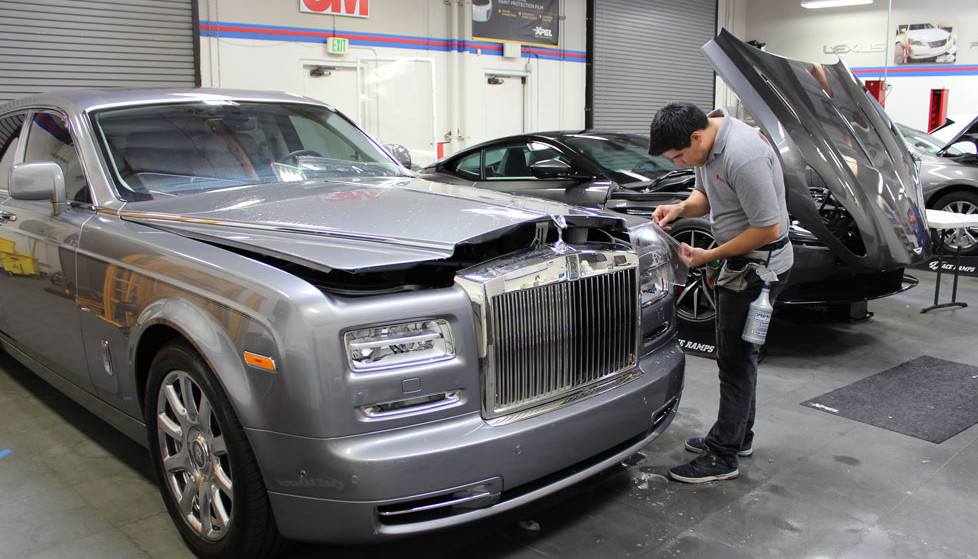 Mastershield clear bra paint protection film protects this silver Rolls Royce Phantom.
