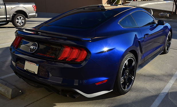 This Blue Mustang has XPEL Paint Protection film to preserve its gloss finish.
