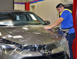This is a Toyota-with-XPEL-paint-protection-film-being installed by Mastershield of Palm Desert.