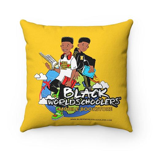 Signature Black Worldschoolers LOGO Square Pillow
