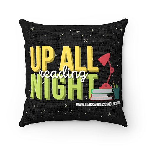 """""""Up All Night Reading""""  Polyester Square Pillow"""