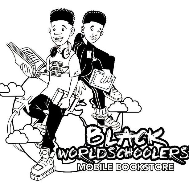 Black Worldschoolers Coloring Logo Page