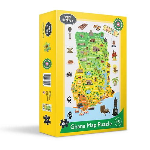 100 Piece Ghana Map Jigsaw Puzzle