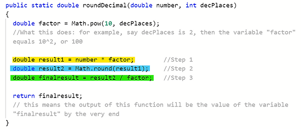 roundDec function steps more clear marke