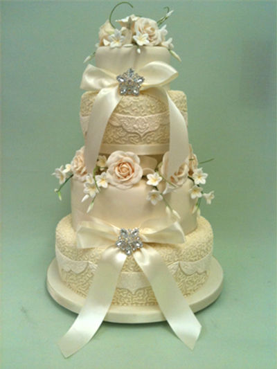 beautifully decorated white wedding cake