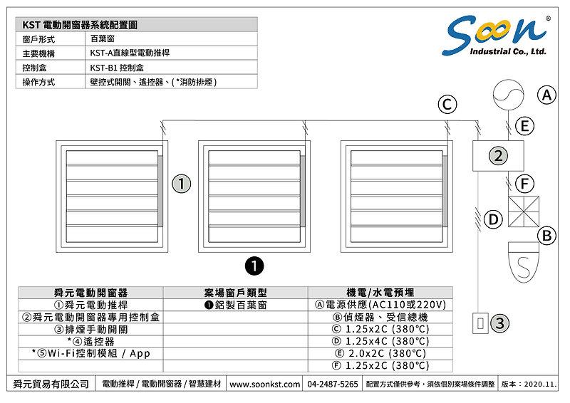 電動開窗器系統示意圖 - 百葉窗 - 直線型電動推桿 - TW-01.jpg