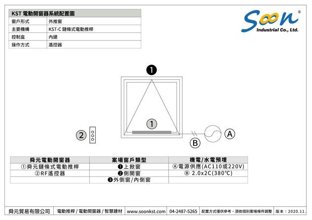 電動開窗器系統示意圖 - 外推窗 - 鏈條式電動推桿 - RF獨立