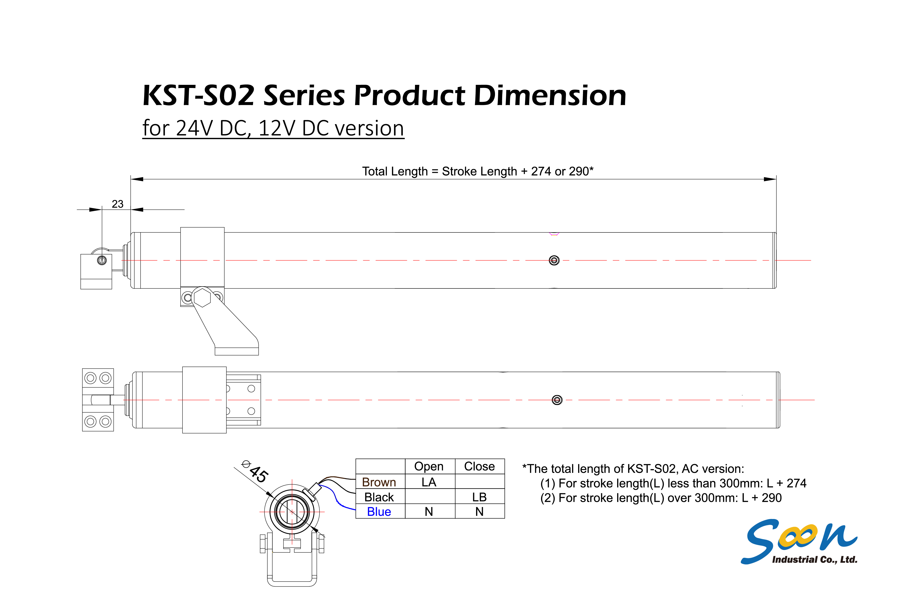 KST-S02 spindle actuator - dimension drawing - DC version