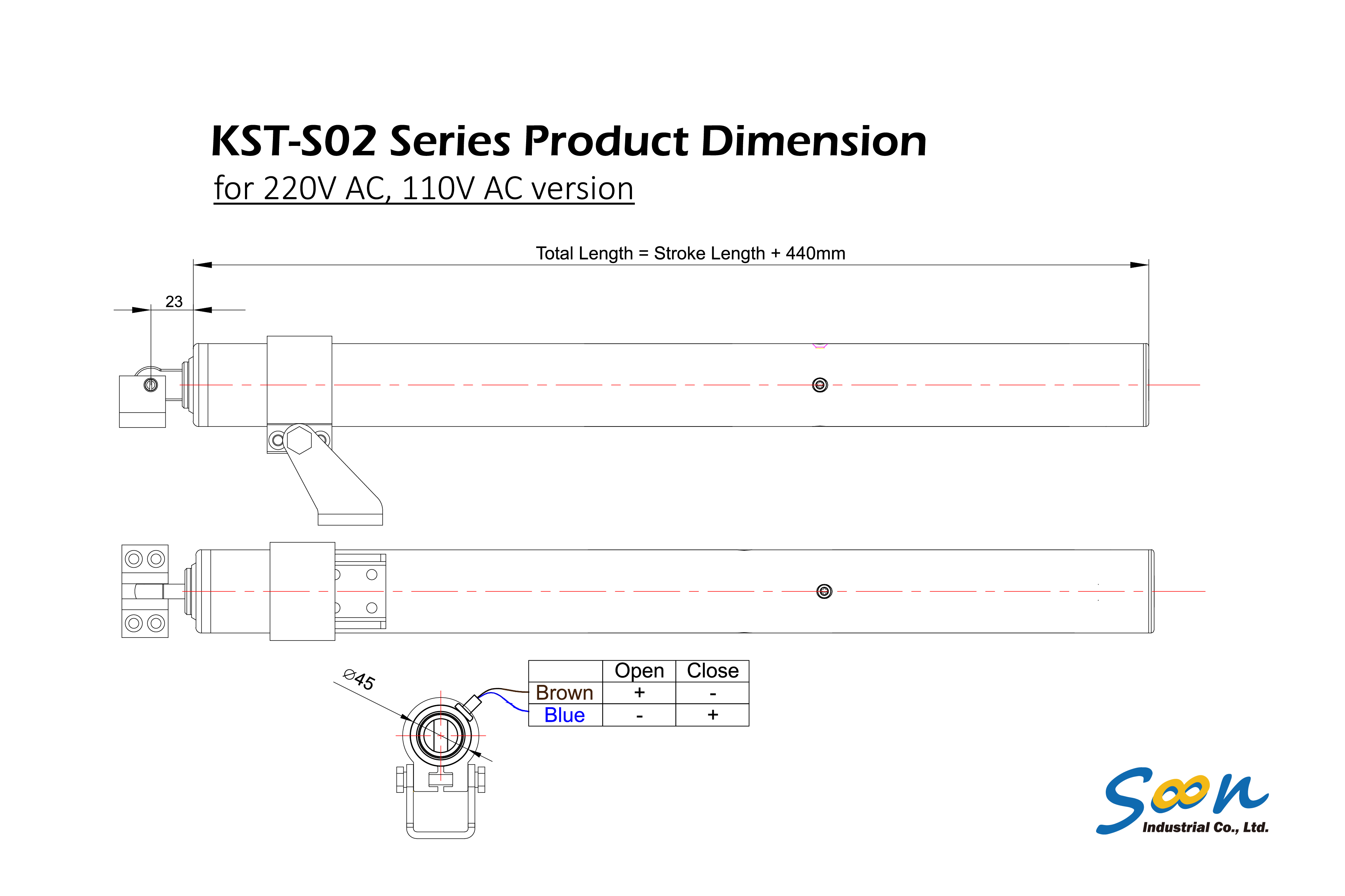 KST-S02 spindle actuator - dimension drawing - AC version