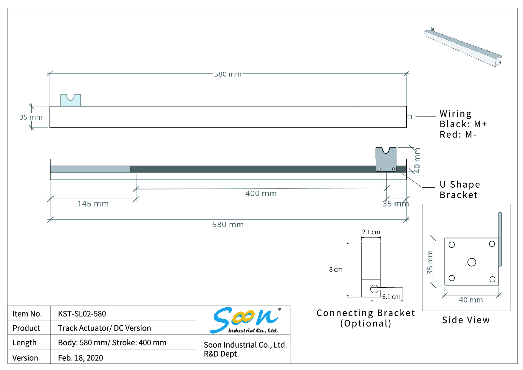 KST-SL02 Track Actuator - Dimension Drawing
