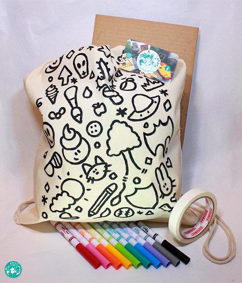 PrePainted Neutral Illustration Drawstring Backpack Colouring Kit PPNBPCK02