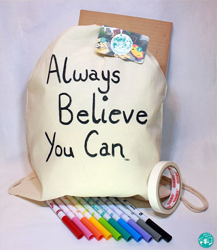 PrePainted Neutral Text Drawstring Backpack Colouring Kit PPNBPCK01