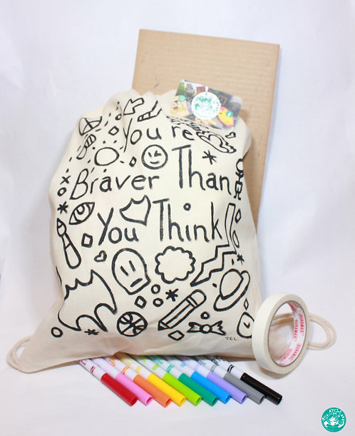 PrePainted Boy Text/Illustration Drawstring Backpack Colouring Kit PPBBPCK03