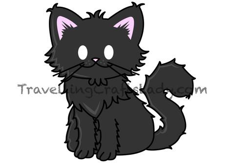 Black long hair tabby cat