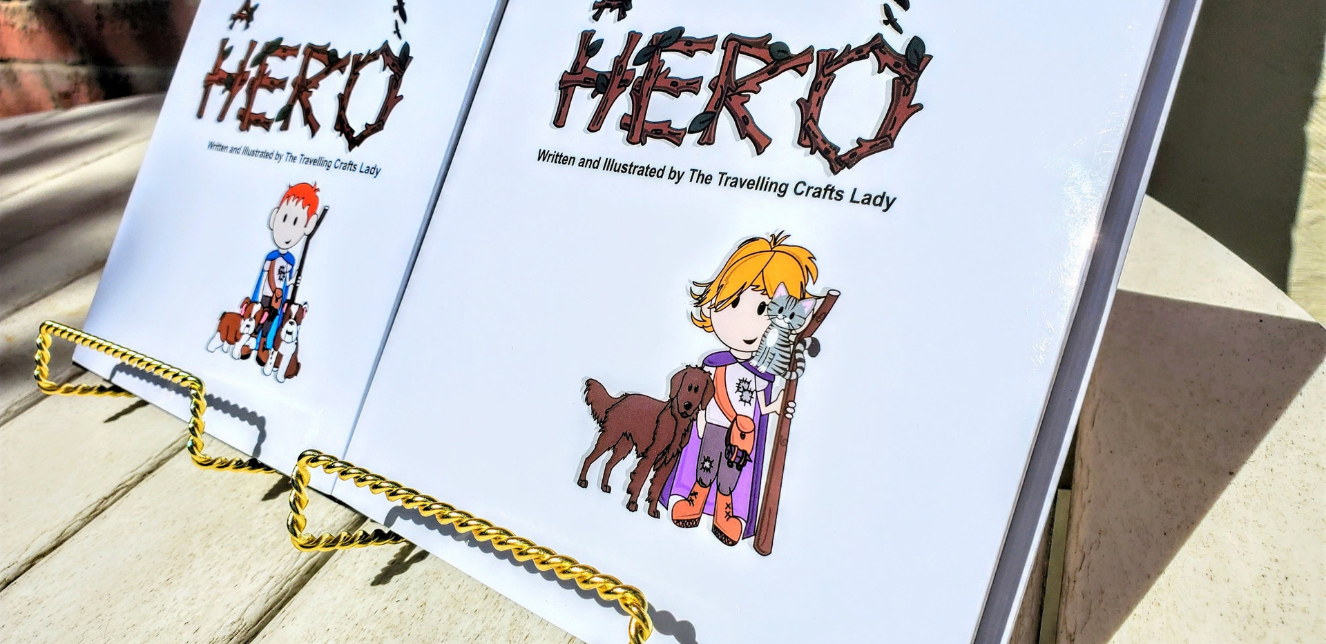 Two custom storybooks side by side