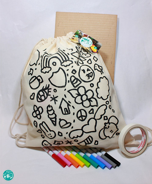 PrePainted Girl Illustration Drawstring Backpack Colouring Kit PPGBPCK02