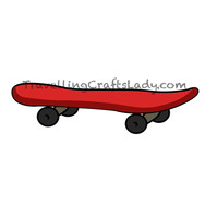 Red skateboard graphic