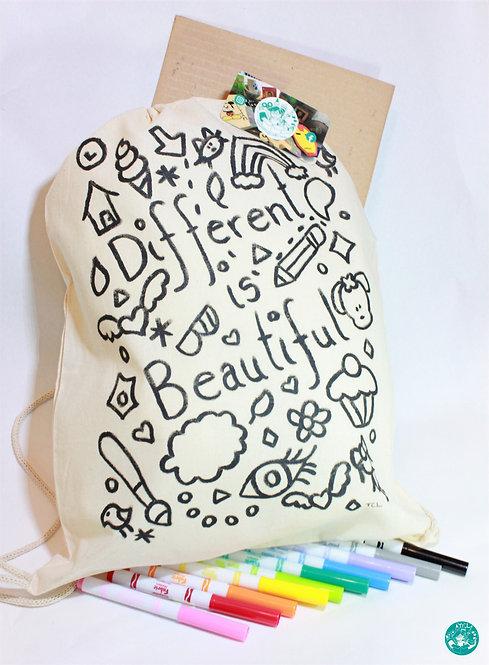 PrePainted Girl Text/Illustration Drawstring Backpack Colouring Kit PPGBPCK03
