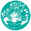"Contains the text ""the"" and the letters ""TCL"" which stands for Travelling Crafts Lady. There's a caricature or cartoon of a lady give a thumbs up with glasses and short hear. She is also winking and coming out of a box. In the background there is a drawing of a glue bottle, scissors, pencil, paint brush, painting palette and masking tape. Everything appears behind the caricature in a fan like pattern."