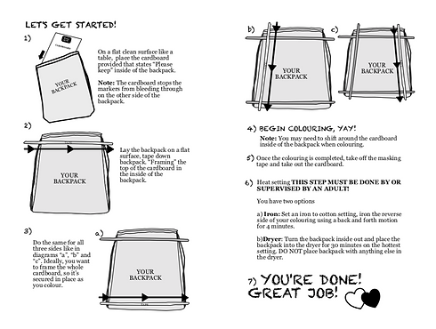 Backpack colouring kit instructions