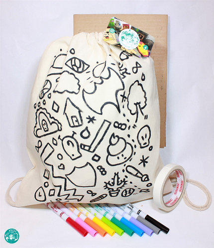 PrePainted Boy Illustration Drawstring Backpack Colouring Kit PPBBPCK02