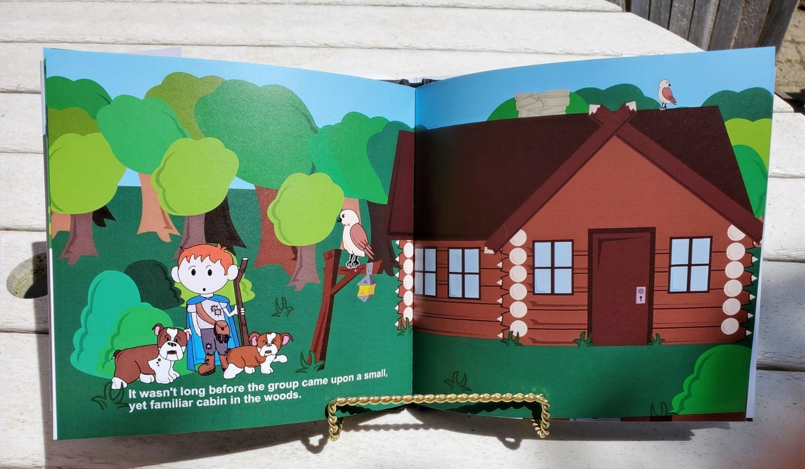Photograph of the custom storybook, one of the long images in the book.
