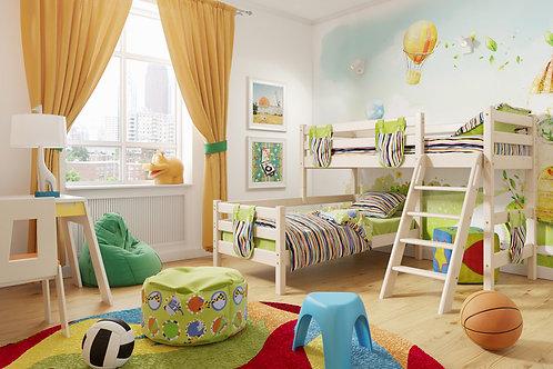 Угловая кровать «Соня» с наклонной лестницей. Вариант 8