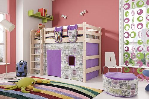 Полувысокая кровать «Соня» с прямой лестницей. Вариант 5