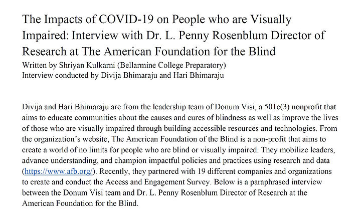 The Impacts of COVID-19 on People who are Visually Impaired: Interview with Dr. L. Penny Rosenblum Director of Research at The American Foundation for the Blind