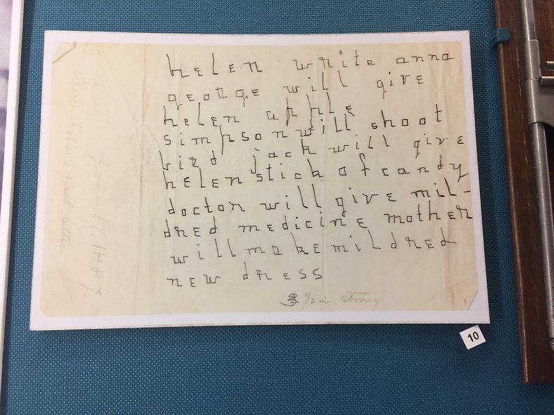 Image of Helen Keller's first letter