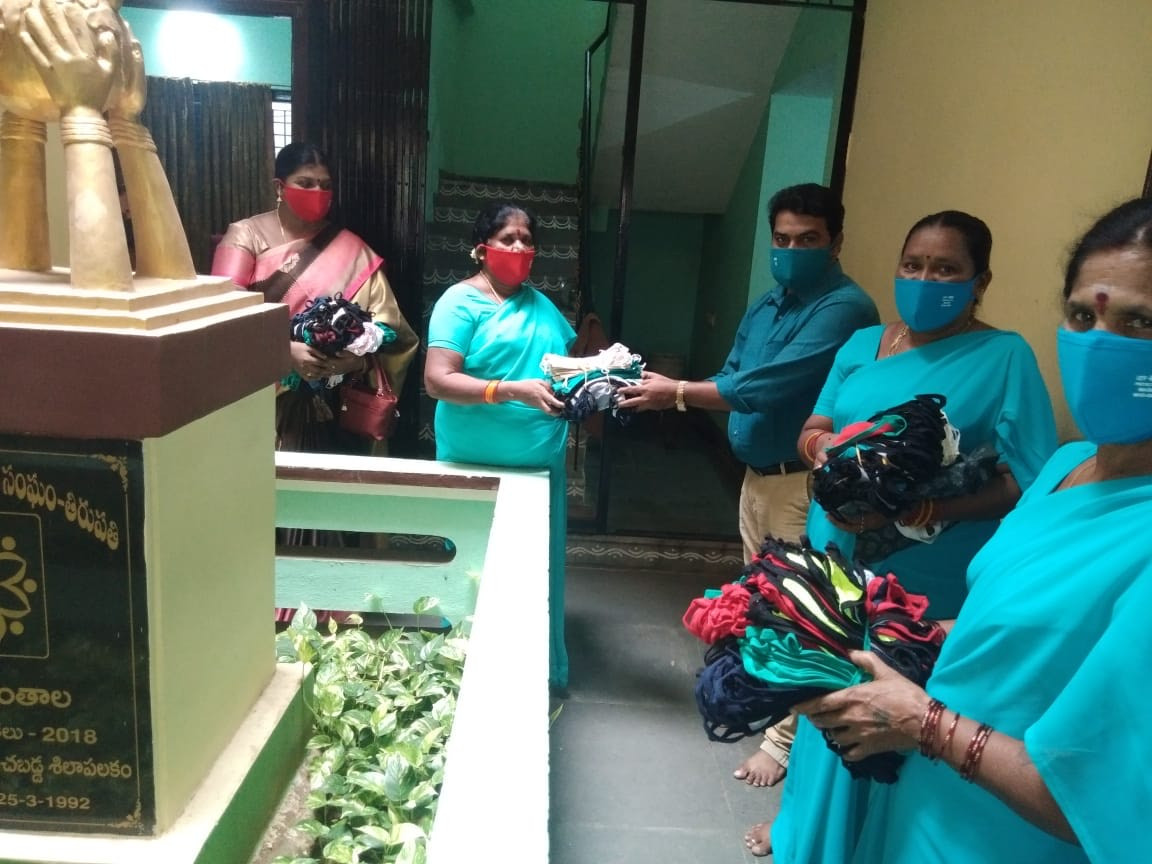 SHG members with masks initiative by DV - 4